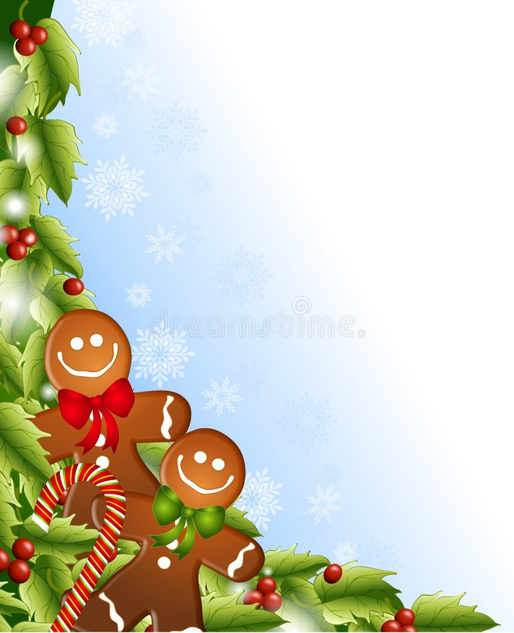 Gingerbread Men Holly stock illustration