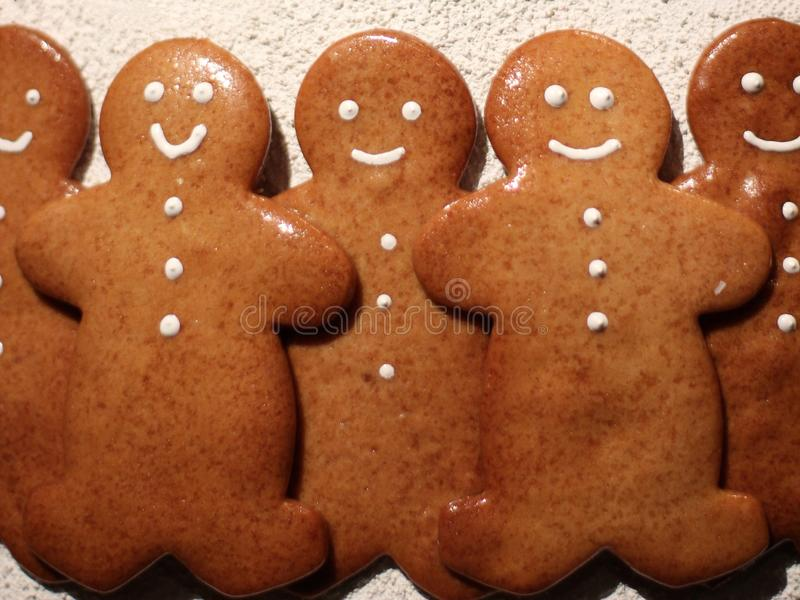 Gingerbread men smiling royalty free stock photo