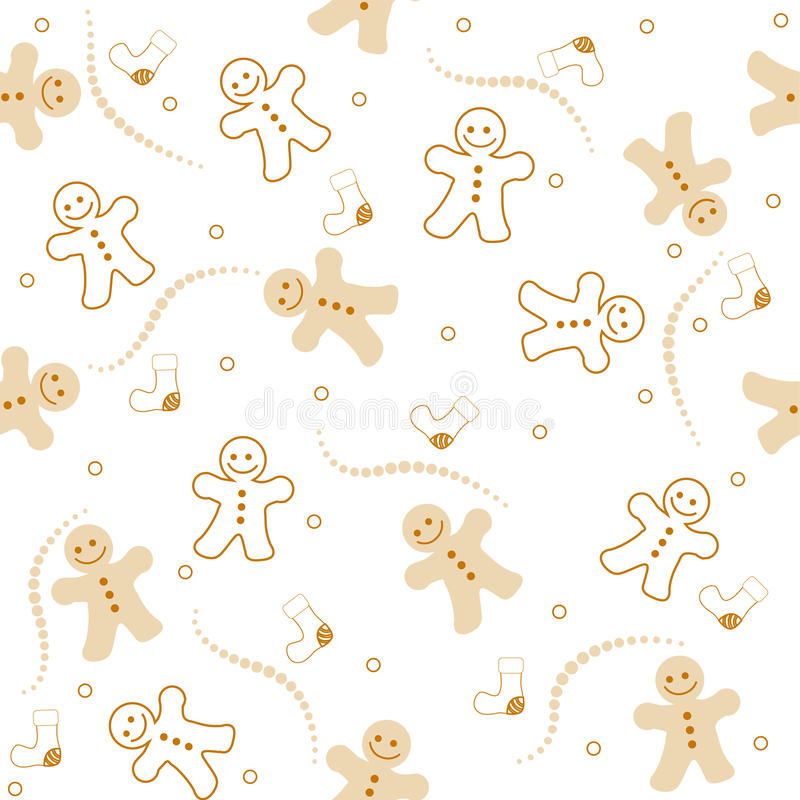 Gingerbread seamless pattern christmas. Illustration of a beautiful gingerbread man on white color background christmas seamless pattern
