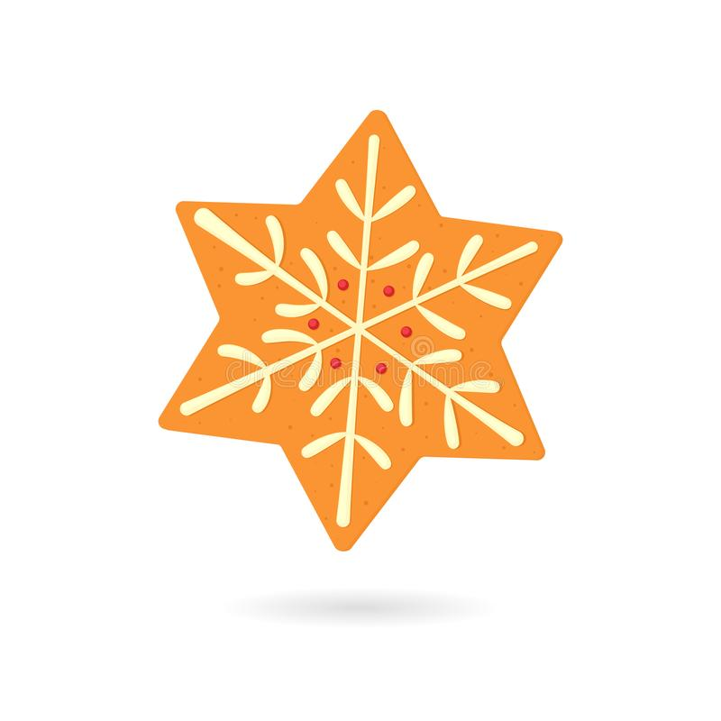 Gingerbread snowflake cookie royalty free illustration