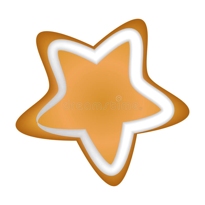 Gingerbread star with glaze. Isolated. Christmas. Handmade. Draw vector illustration
