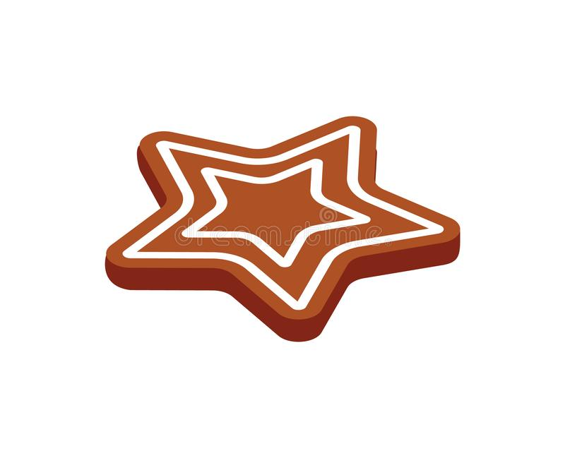Gingerbread Star Vector Baked Cookie Icon Isolated. On white. Traditional element for New Year and Christmas baking. Sweet confectionery dessert in 3D design royalty free illustration