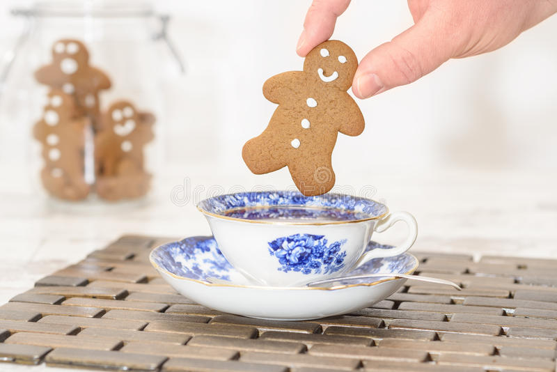 Gingerbread In Teacup royalty free stock image