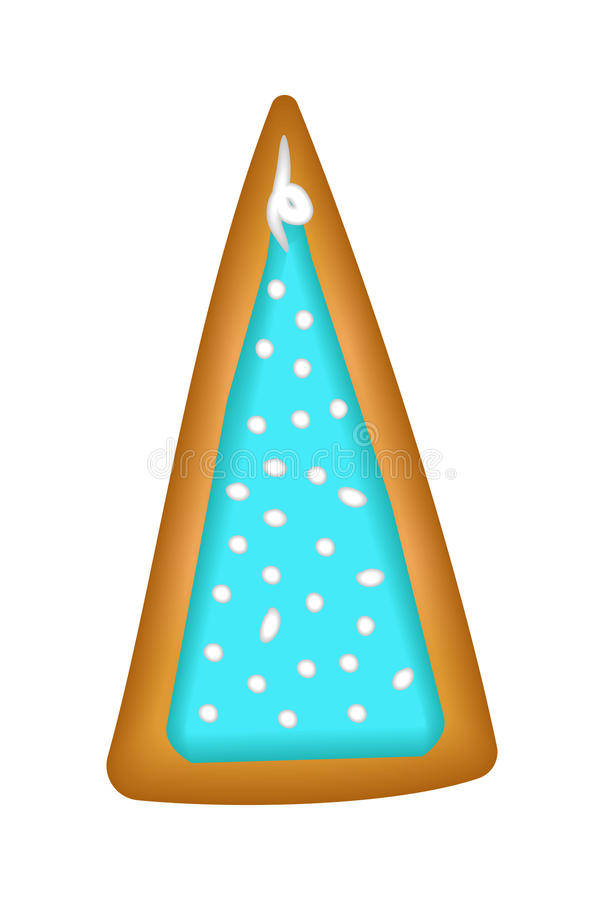 Gingerbread tree with blue glaze. Isolated. Christmas. Handmade. royalty free illustration