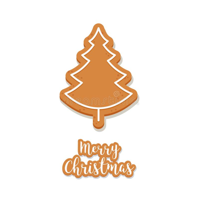 Gingerbread tree cookie christmas greetings isolated background.  royalty free illustration