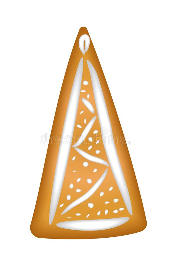 Gingerbread tree with glaze. Isolated. Christmas. Handmade. Draw vector illustration