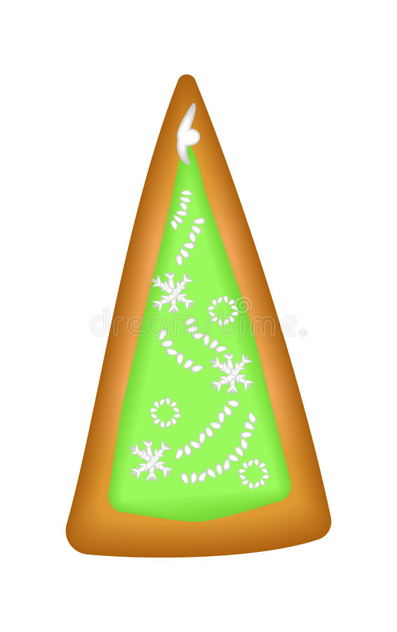 Gingerbread tree with green glaze. Isolated. Christmas. Handmade vector illustration