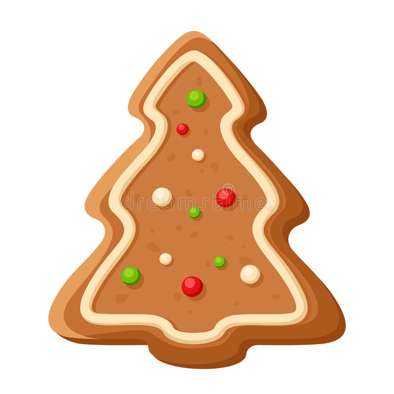 Gingerbread tree. Vector Christmas cookie. Vector Christmas illustration of gingerbread tree cookie isolated on a white background stock illustration