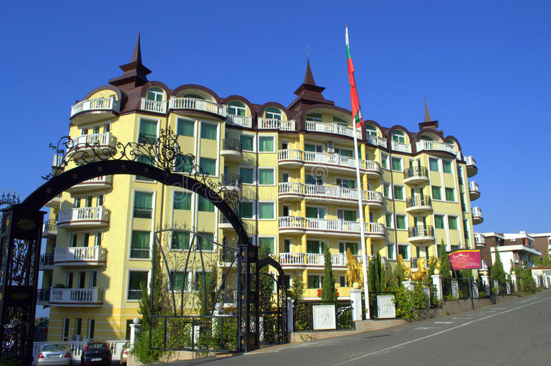 Gingerbread vacation complex architecture. Pretentious kitsch architecture in Bulgarian summer resort Elenite stock photo