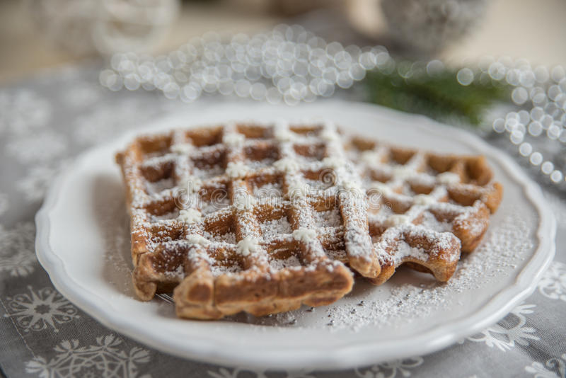Gingerbread waffles on a plate. Home made gingerbread waffles on a plate royalty free stock image