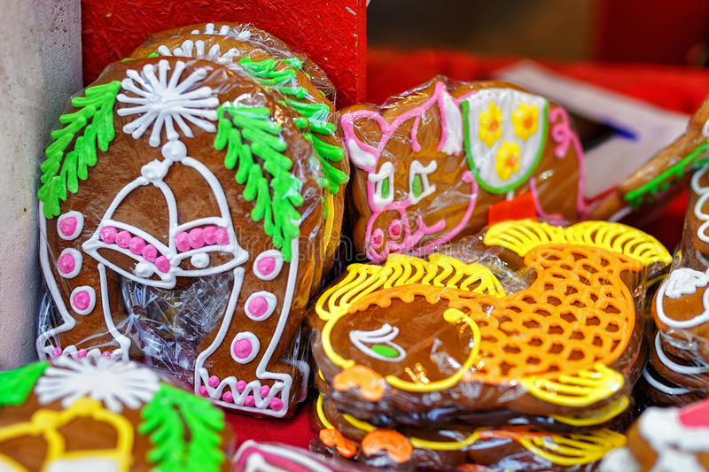 Gingerbreads displayed for sale at Riga Christmas market royalty free stock image