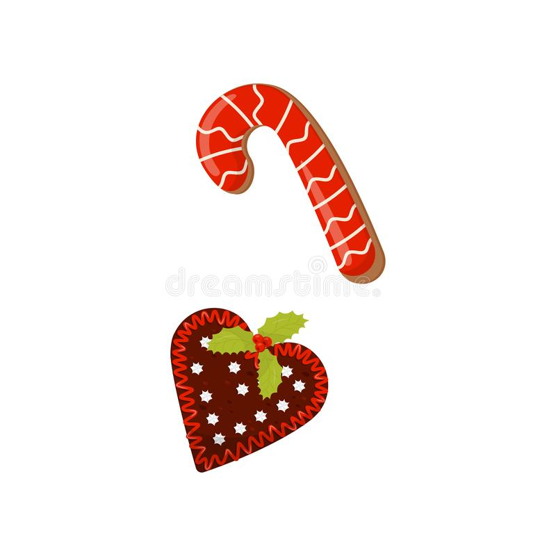 Gingerbreads in shape of heart and candy cane decorated with colored icing. Delicious Christmas dessert. Flat vector stock illustration