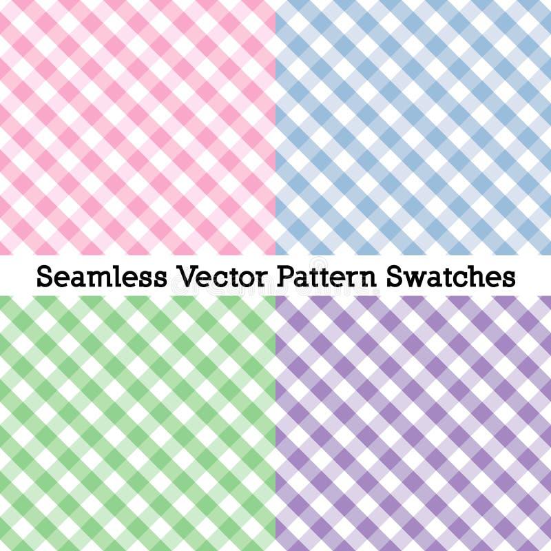 Gingham διαγώνια άνευ ραφής σχέδια ύφανσης, τέσσερα χρώματα κρητιδογραφιών: Ροζ, μπλε σκονών, Misty πράσινη Lavender διανυσματική απεικόνιση