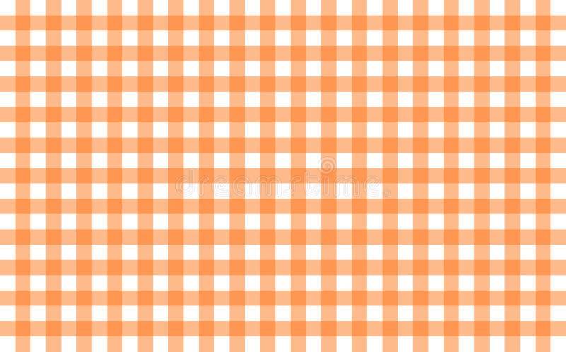 Gingham-όπως το επιτραπέζιο ύφασμα με τους πορτοκαλιούς και άσπρους ελέγχους κολοκύθας ελεύθερη απεικόνιση δικαιώματος