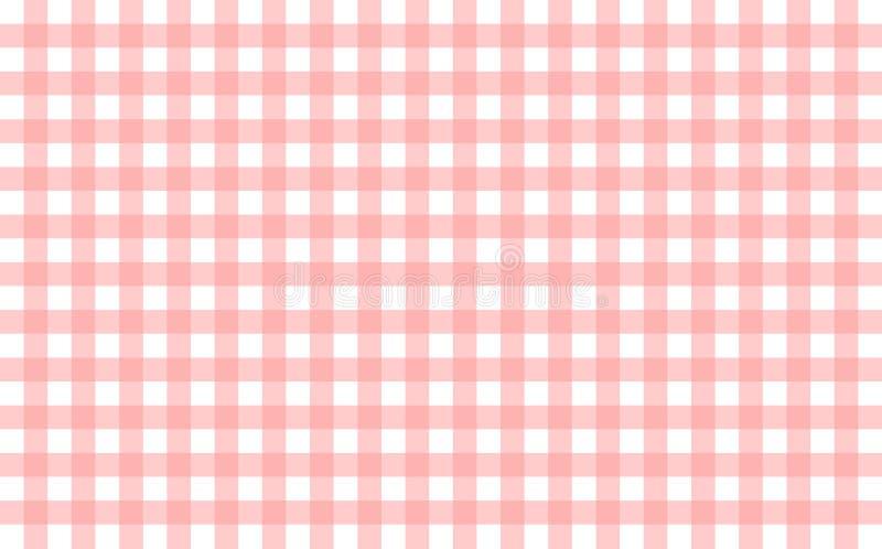 Gingham-όπως το επιτραπέζιο ύφασμα με τους ρόδινους και άσπρους ελέγχους μωρών απεικόνιση αποθεμάτων