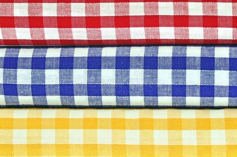 Gingham Cloths. Red,blue and yellow gingham cloths stock image