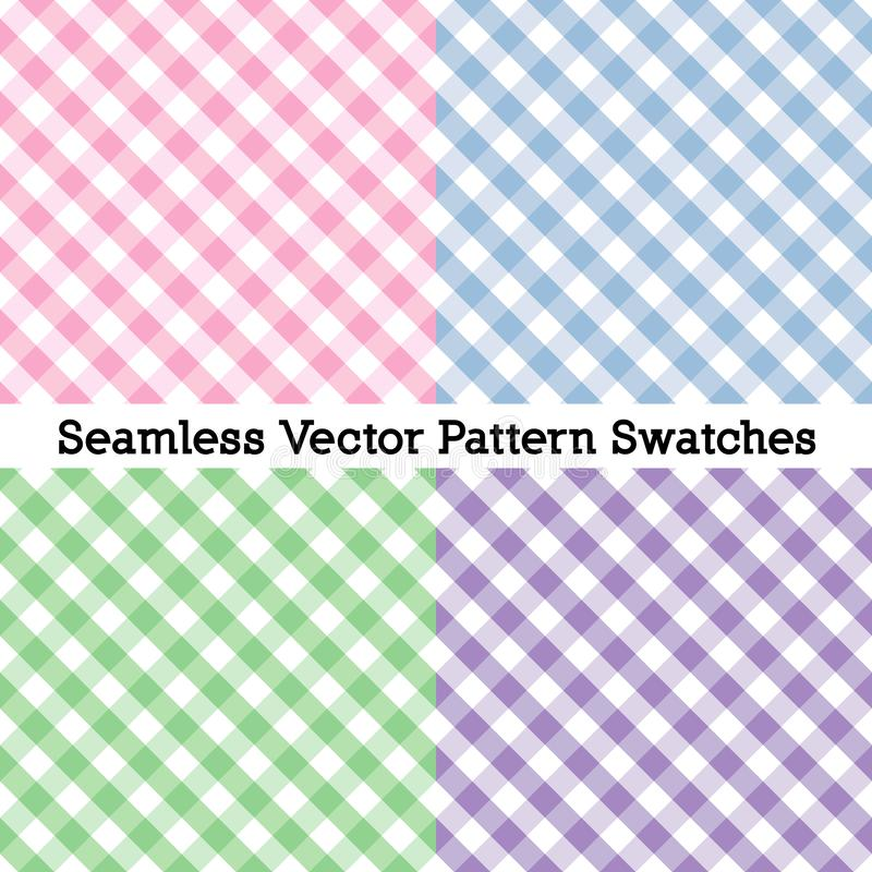 Free Gingham Cross Weave Seamless Patterns, Four Pastel Colors: Pink, Powder Blue, Misty Green. Lavender Stock Photos - 154557623