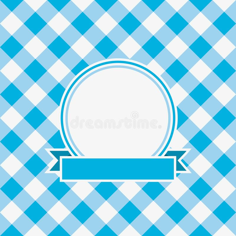 Gingham invitation card template with frame and ribbon. Vector. royalty free illustration