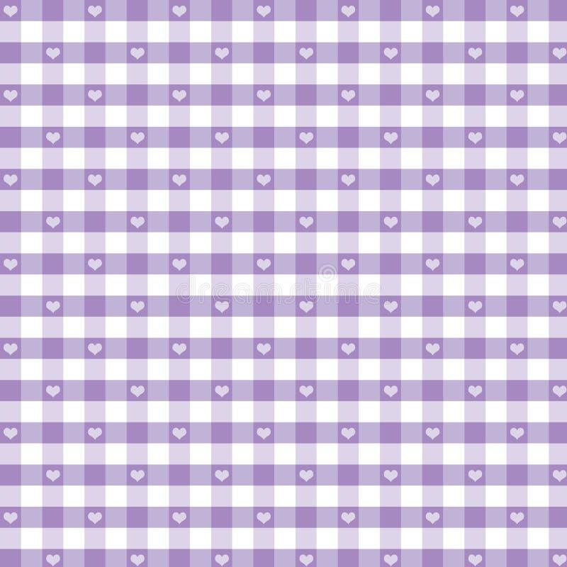 gingham kolorze lila bezszwowy pastelowy serc ilustracji