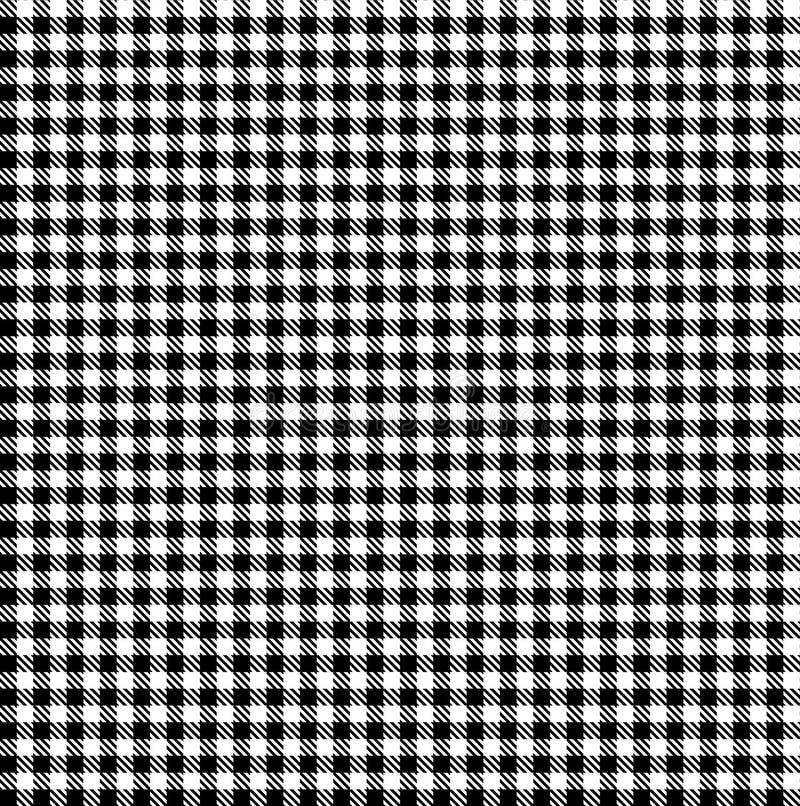 Gingham-nahtloses Schwarzweiss-Muster lizenzfreie stockfotografie