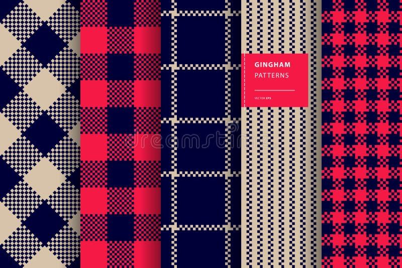 Gingham plaid seamless pattern set royalty free illustration