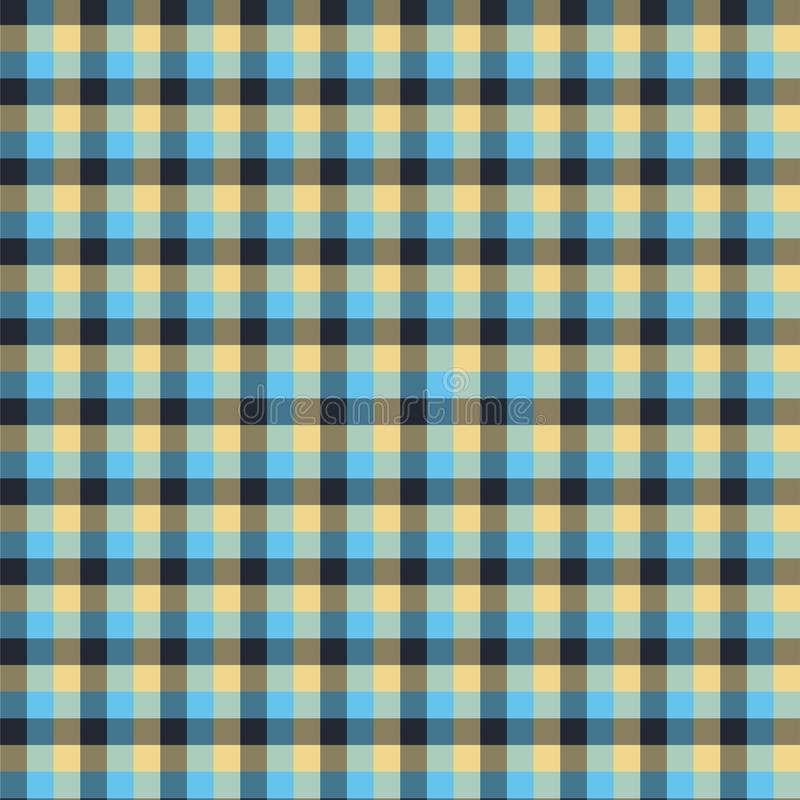 Gingham seamless blue and black pattern. Texture for plaid, tablecloths, clothes, shirts,dresses,paper,bedding,blankets,quilts and. Other textile products stock illustration