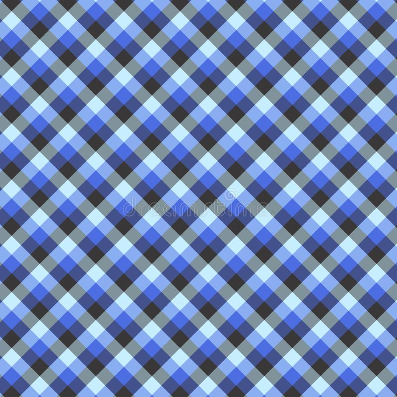 Gingham seamless blue pattern. Texture for plaid, tablecloths, clothes, shirts,dresses,paper,bedding,blankets,quilts and other. Textile products. Vector royalty free illustration