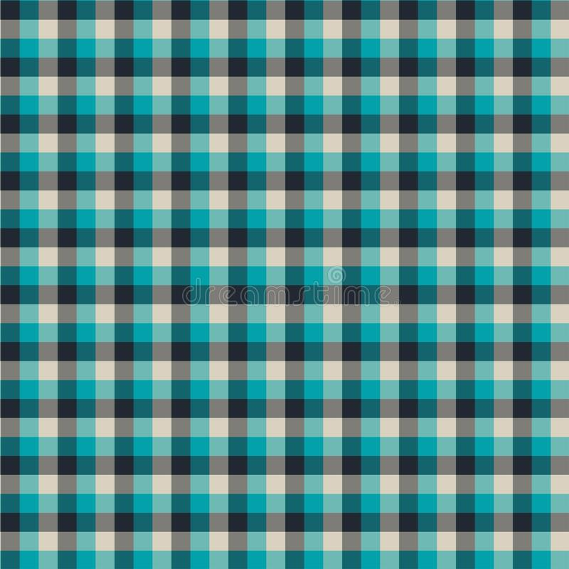 Gingham seamless cyan and black pattern. Texture for plaid, tablecloths, clothes, shirts,dresses,paper,bedding,blankets,quilts and. Other textile products stock illustration