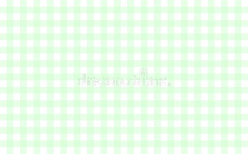 Gingham-som tabelltorkduken med mintkaramellgräsplan- och vitkontroller royaltyfri illustrationer