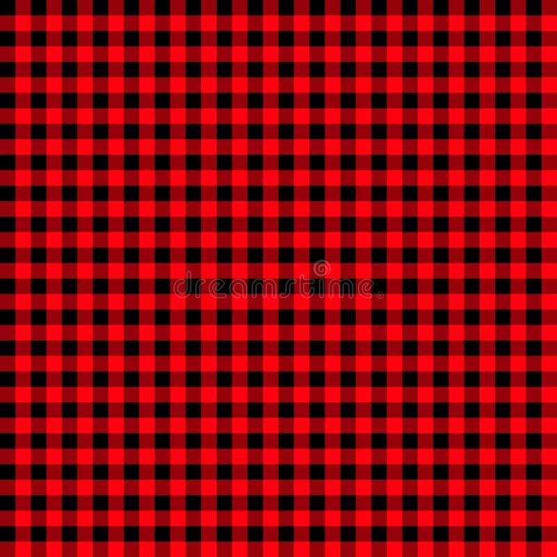 Ginghammuster des feuerfesten Ziegels strukturierter roter und schwarzer Plaidhintergrund Flanellplaid des hellroten und schwarze vektor abbildung