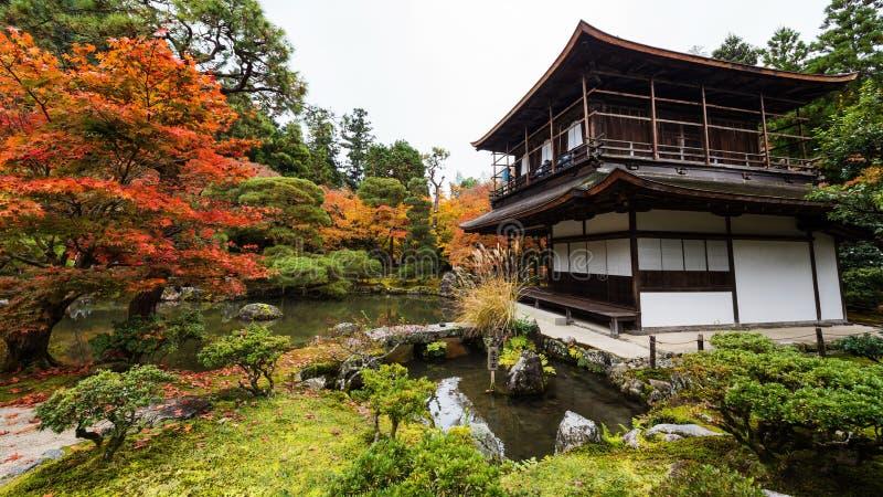 Ginkakuji with autumn garden, Kyoto. Silver Pavilion or Ginkakuji temple with autumn garden in Kyoto, Japan stock photo