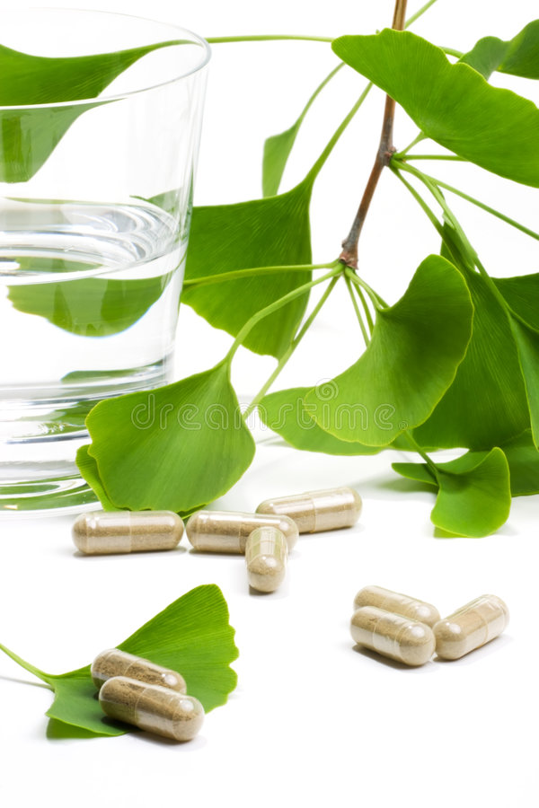 Ginkgo Biloba. Extract pills and fresh  leaves with glass of water best suited for aged people alternative medicine ads royalty free stock images