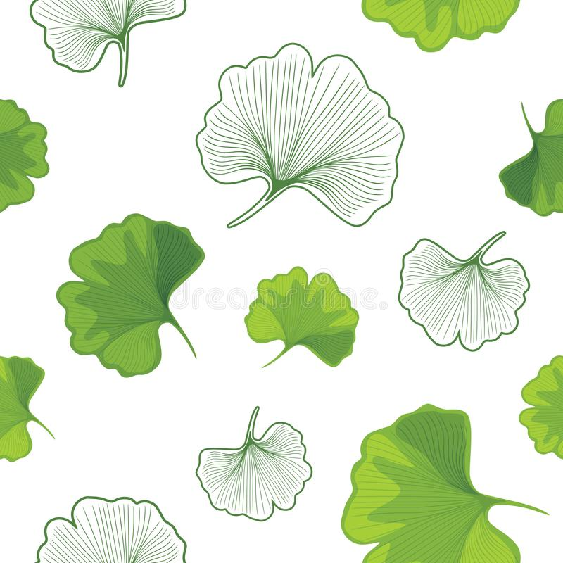 Ginkgo biloba leaves green and outlined. Seamless pattern for design stock image