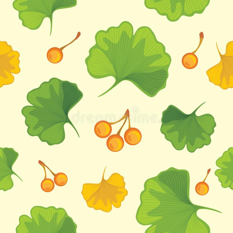 Ginkgo biloba leaves with nuts. Seamless pattern for design stock images