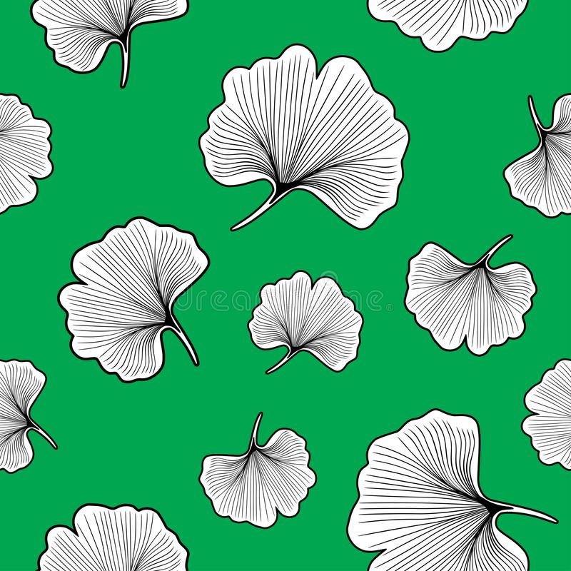 Ginkgo biloba leaves outlined. Seamless pattern for design royalty free stock photos