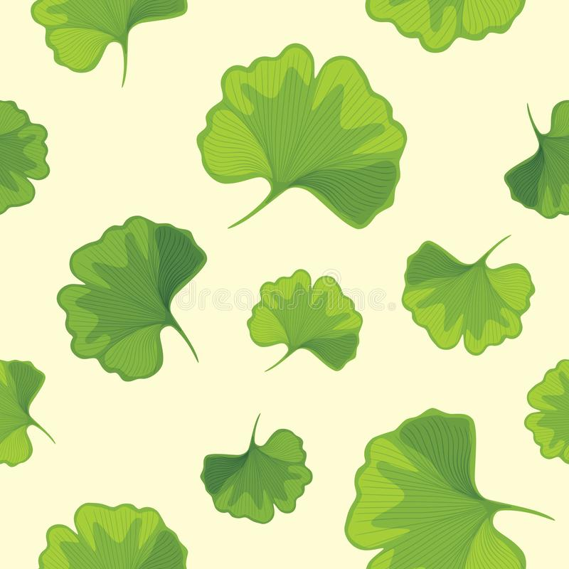 Ginkgo biloba leaves. Seamless pattern for design stock images
