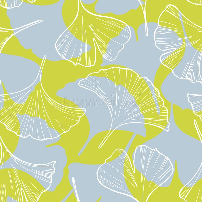 Ginkgo leaves. Vector seamless pattern stock illustration