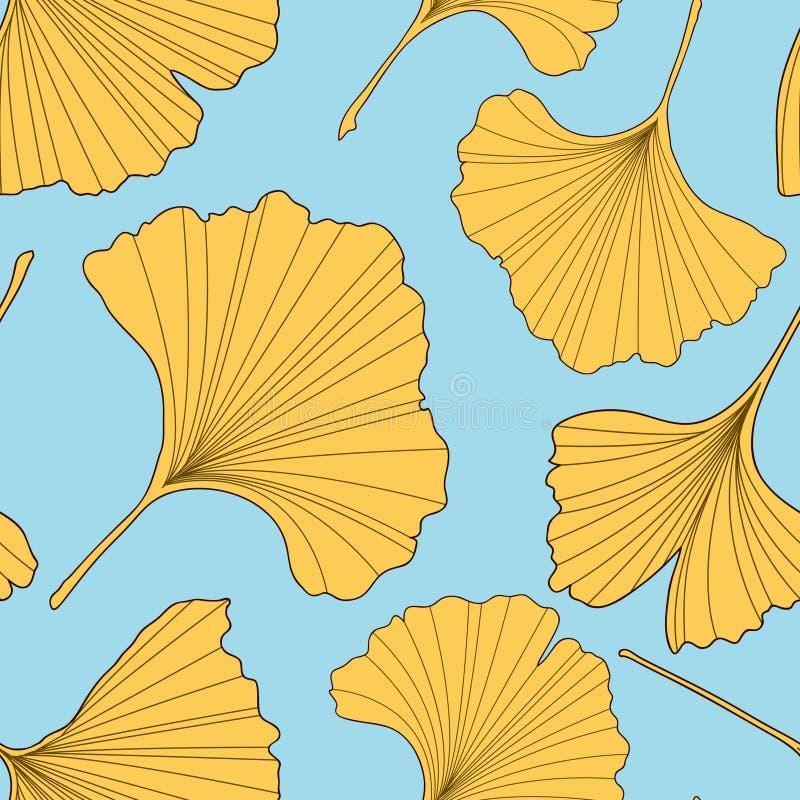 Ginkgo verlässt nahtloses Muster vektor abbildung