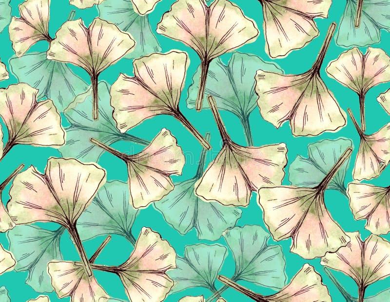 Ginkgo verlaat naadloos patroon Waterverf botanische illustratie stock illustratie