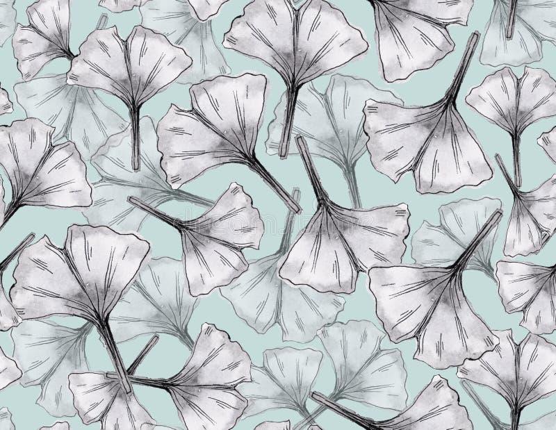 Ginkgo verlaat naadloos patroon Waterverf botanische illustratie vector illustratie