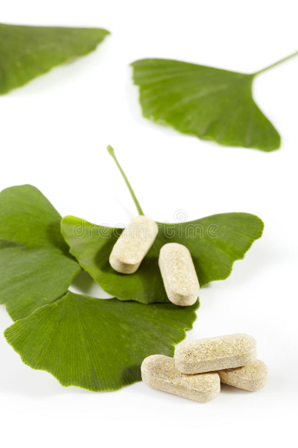 Ginko biloba. With the medicines isolated background stock photos