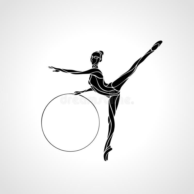 Ginnastica ritmica con la siluetta del cerchio su fondo bianco royalty illustrazione gratis