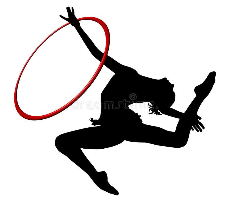 Ginnastica ritmica - icona vectorial colorata anello Siluetta della donna di ginnastica illustrazione vettoriale