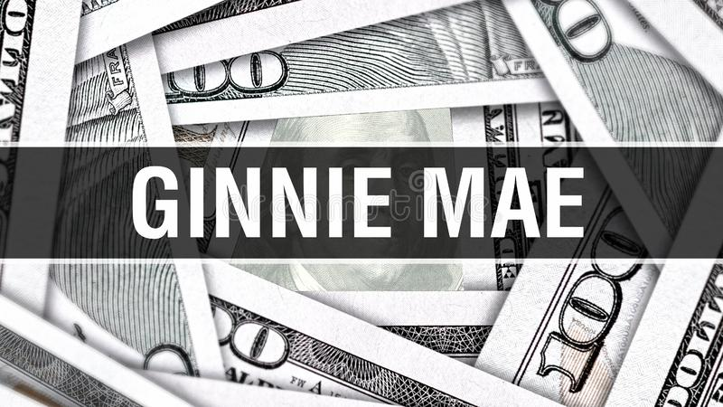 Ginnie Mae Closeup Concept. American Dollars Cash Money,3D rendering. Ginnie Mae at Dollar Banknote. Financial USA money banknote royalty free illustration