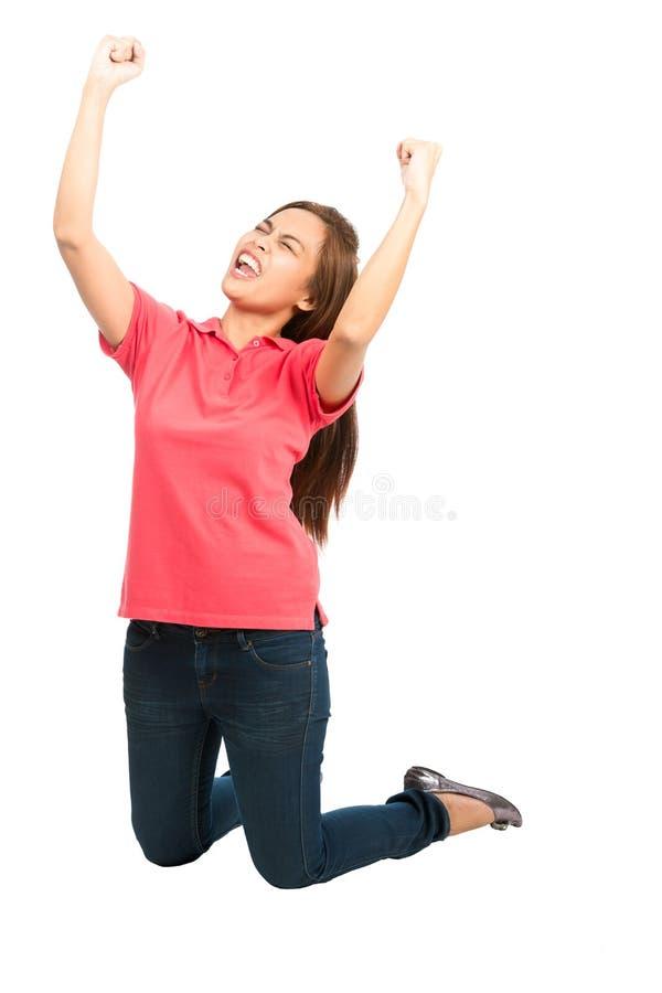 Ginocchia incoraggianti di Team Goal Win Asian Woman di sport immagine stock