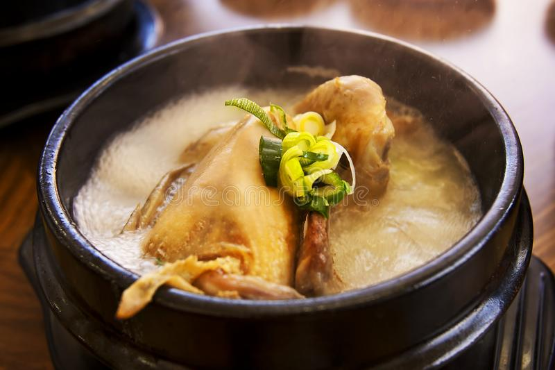 Ginseng-Hühnersuppe, koreanisches heißes Schüssellieblingsmenü stockbild