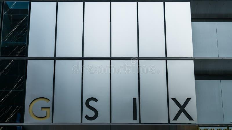 Ginza 6 ist ein Luxuseinkaufszentrum in Ginza, Tokyo GSIX einer Handelsanlage ist ein Markstein stockbild