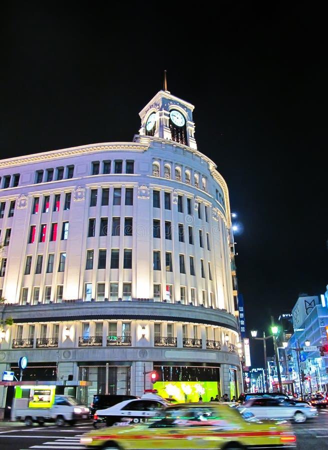ginza Japan noc sklepu Tokyo wako obraz royalty free