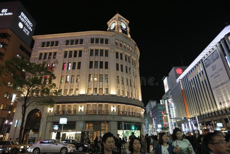 Ginza rozdroże przy nocą w Tokio fotografia stock