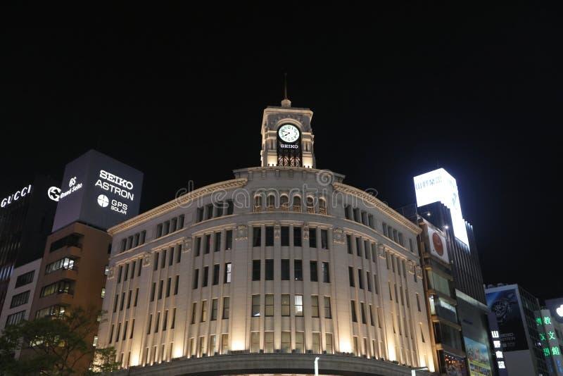 Ginza rozdroże przy nocą w Tokio fotografia royalty free